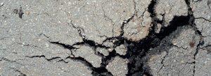 Close up of cracked asphalt